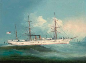 HMS Orontes in better times.