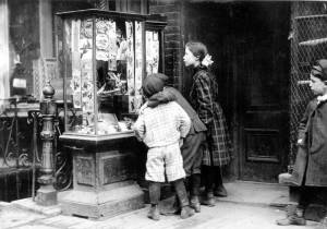 Christmas Cards in Victorian Shop Window, 1910