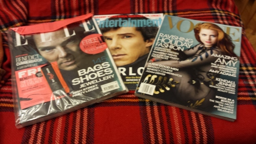 Elle UK (still in wrapper); Entertainment Weekly, and US Vogue