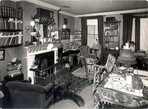 "221B as seen during the Festival of Britain in 1951. That is indeed Sidney Paget's ""basket chair."""