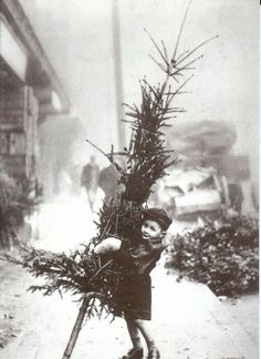 child with xmas tree