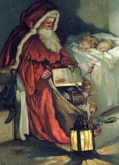 father christmas and sleeping children