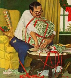 father wrapping gift