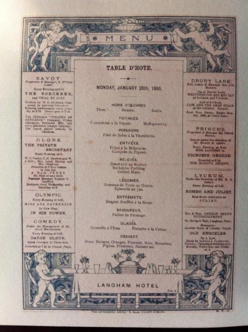 Langham hotel menu