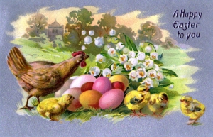 free-vintage-easter-illustration-of-chicks-and-eggs-from-antique-victorian-postcard